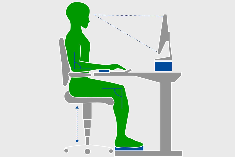 Infografik richtig ergonomisch sitzen